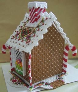 Вышивка на пластиковой канве пряничный домик